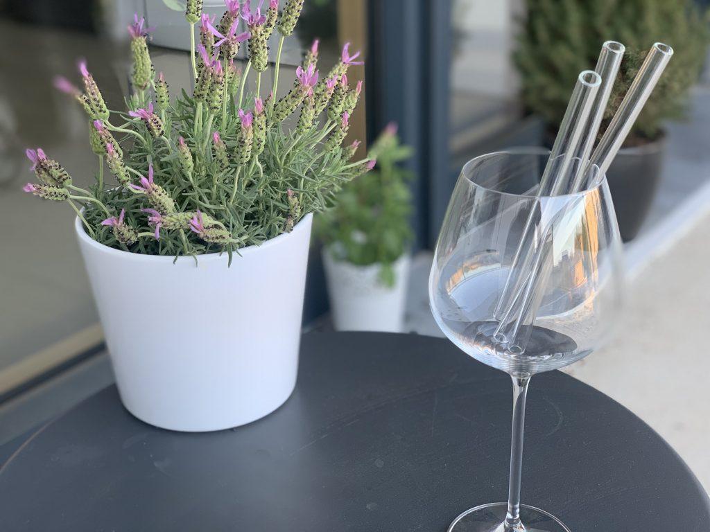 Plant next to glass with a glass straw