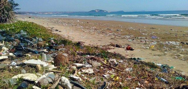 Beach full of garbage