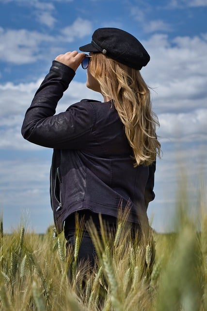 woman with vegan leather jacket