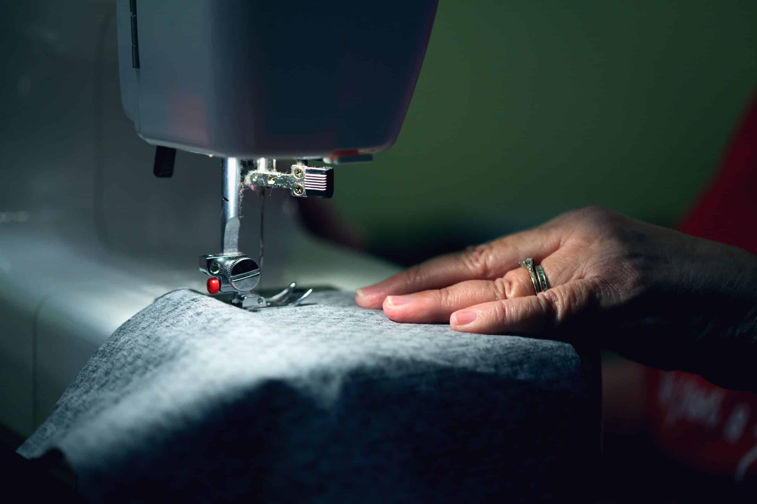 Spandex being sewed
