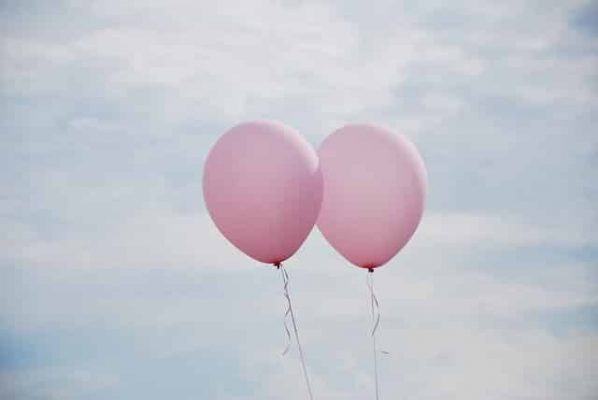 pink balloons in the air