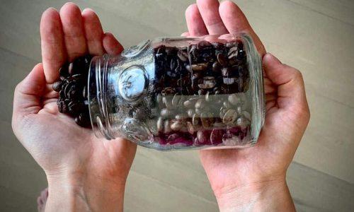Coffee Beans in Mason Jar