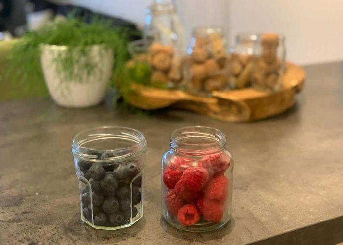 Fruits in mason jars