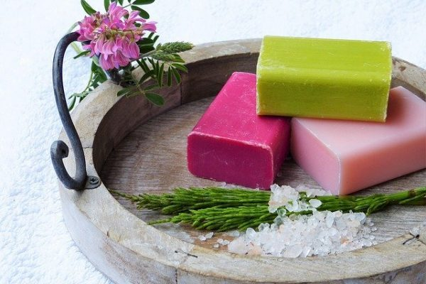 Soaps in a dish